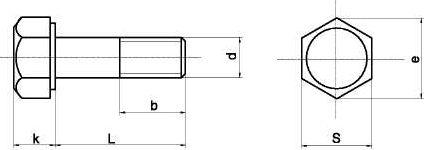 чертеж болта с шестигранной головкой.